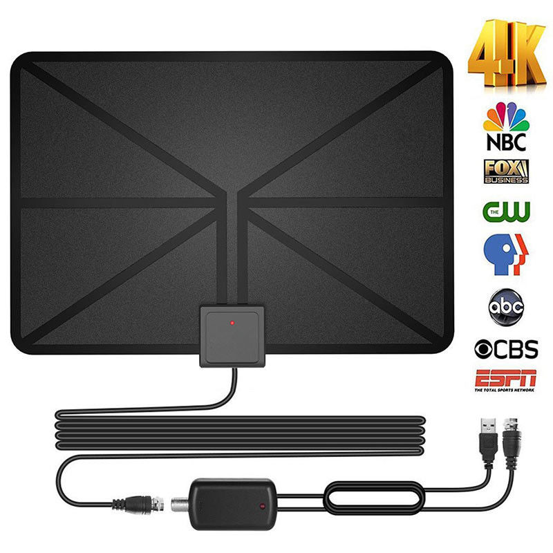 Amplified HDTV Digital Television Antennas 60 Mile Range 4K 1080p Paper Thin